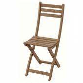 АСКХОЛЬМЕН Садовый стул,складной светло-коричневая морилка светло-коричневый серо-коричневая морилка