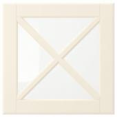 БУДБИН Стеклянная дверца с переплетом,белый с оттенком