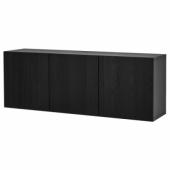 БЕСТО Комбинация настенных шкафов, черно-коричневый, Лаппвикен черно-коричневый