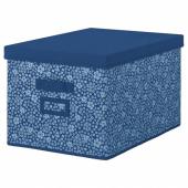 СТОРСТАББЕ Коробка с крышкой,синий,белый