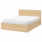 МАЛЬМ Кровать с подъемным механизмом, дубовый шпон, беленый, 140x200 см