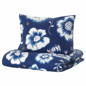 СОНГЛЭРКА Пододеяльник и 1 наволочка,цветок,темно-синий белый