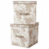ГАРНИТУР Коробка с крышкой,бежевый,белый цветок
