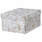 СМЕКА Коробка с крышкой,серый,с рисунком