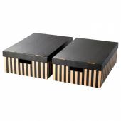 ПИНГЛА Коробка с крышкой,черный,естественный