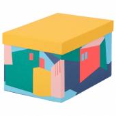 ТЬЕНА Коробка с крышкой, желтый, 18x25x15 см
