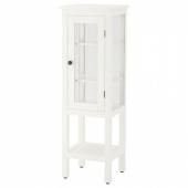 ХЕМНЭС Высокий шкаф со стеклянной дверцей,белый