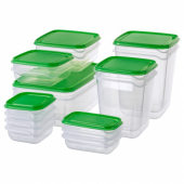 ПРУТА Набор контейнеров, 17 шт.,прозрачный,зеленый