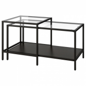 ВИТШЁ Комплект столов, 2 шт,черно-коричневый,стекло