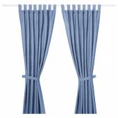 ЛЕНДА Гардины с прихватом, 1 пара,ярко-синий