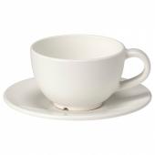 ВАРДАГЕН Чашка кофейная с блюдцем,белый с оттенком