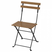 ТЭРНО Садовый стул,складной черный,серо-коричневая морилка