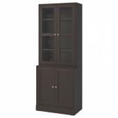 ХАВСТА Комбинация для хранения с сткл двр, темно-коричневый, 81x47x212 см