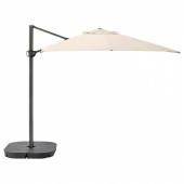 СЕГЛАРО / СВАРТО Зонт от солнца с опорой, наклонный бежевый, темно-серый, 330x240 см