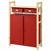 ИВАР Стеллаж со шкафами/ящиками, сосна красный, 89x30x124 см