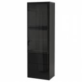 БЕСТО Комбинация д/хранения+стекл дверц, черно-коричневый, Сельсвикен глянцевый/черный прозрачное стекло, 60x42x193 см