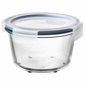 ИКЕА/365+ Контейнер для продуктов с крышкой, круглой формы стекло, пластик стекло, 600 мл