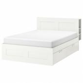 БРИМНЭС Каркас кровати с изголовьем, белый, Лонсет, 140x200 см